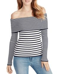 Ella Moss - Charlotte Striped Off-the-shoulder Cotton Sweater - Lyst
