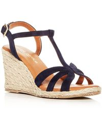 Andre Assous - Women's Madina Suede T-strap Espadrille Wedge Sandals - Lyst