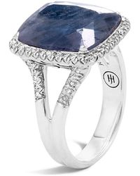 John Hardy - Sterling Silver Classic Chain Magic Cut Sapphire Ring With Diamonds - Lyst