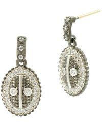 Freida Rothman - Pavé Oval Drop Earrings - Lyst