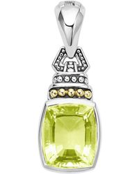 Lagos - 18k Gold And Sterling Silver Caviar Colour Pendant With Green Quartz - Lyst
