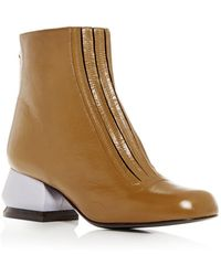 Marni - Women's Leather Sculpted Block-heel Booties - Lyst