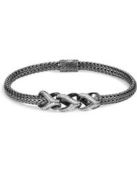 John Hardy - Sterling Silver Classic Chain Pavé Diamond Slim Bracelet With Black Rhodium - Lyst