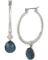 Robert Lee Morris - Stone Drop Hoop Earrings - Lyst