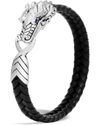 John Hardy - Men's Sterling Silver Legends Naga Bracelet With Braided Black Leather And Sapphire Eyes - Lyst