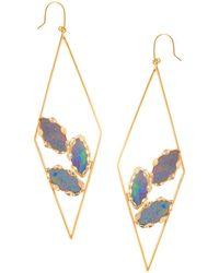 Lana Jewelry - 14k Yellow Gold Geometric Opal Hoop Drop Earrings - Lyst