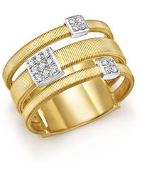Marco Bicego - 18k White And Yellow Gold Masai Three Row Pavé Diamond Ring - Lyst