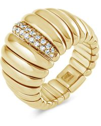 Hulchi Belluni - 18k Yellow Gold Tresore Diamond Wide Band Ring - Lyst