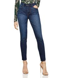 BCBGMAXAZRIA - High-rise Vented-hem Skinny Jeans In Dark Indigo Wash - Lyst