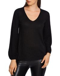 1.STATE - Metallic Ribbed Sleeve Sweater - Lyst