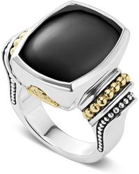 Lagos - 18k Gold And Sterling Silver Caviar Colour Large Onyx Ring - Lyst