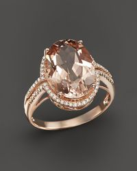 Bloomingdale's - Morganite And Diamond Oval Statement Ring In 14k Rose Gold - Lyst