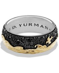 David Yurman - Waves Band Ring With 18k Gold & Black Diamonds - Lyst