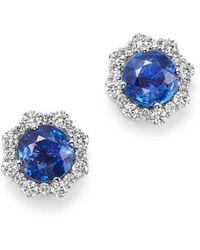 Bloomingdale's - Diamond & Blue Blue Sapphire Halo Stud Earrings In 14k White Gold - Lyst