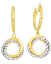 Frederic Sage - 18k Yellow Gold Flat Triple Halo Diamond Earrings - Lyst