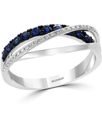 Bloomingdale's - Sapphire & Diamond Crossover Ring In 14k White Gold - Lyst