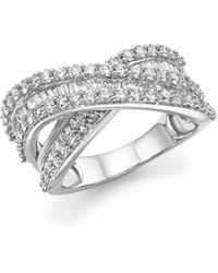 Bloomingdale's - Diamond Round And Baguette Crossover Ring In 14k White Gold, 2.0 Ct. T.w. - Lyst