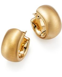 Bloomingdale's - 14k Yellow Gold Wide Band Matte Hoop Earrings With Satin Finish - Lyst