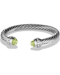 David Yurman - Cable Classics Bracelet With Prasiolite & Diamonds - Lyst