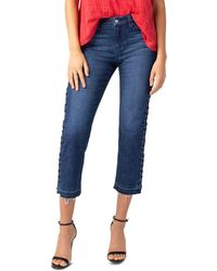 Liverpool Jeans Company - Sadie Lace-up Cropped Straight Jeans In Montauk Mid Blue - Lyst