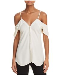 Theory - Convertible Cold-shoulder Silk Shirt - Lyst