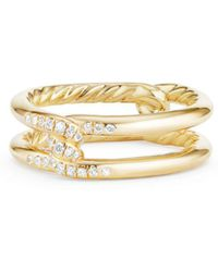David Yurman - Continuance Knot Ring With Diamonds In 18k Gold - Lyst