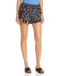 Aqua - Ruffle-trim Floral-print Shorts - Lyst
