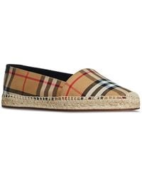 Burberry - Vintage Check And Leather Espadrilles - Lyst
