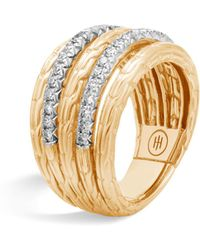 John Hardy | 18k Yellow Gold Classic Chain Five Row Ring With Diamonds | Lyst