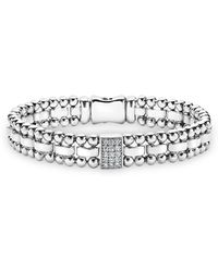 Lagos | Sterling Silver Caviar Spark Diamond Rectangle Link Bracelet | Lyst