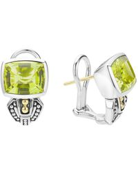 Lagos - Sterling Silver & 18k Gold Caviar Color Stud Huggie Drop Earrings With Green Quartz - Lyst