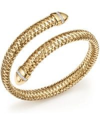 Roberto Coin - 18k Yellow And White Gold Primavera Flex Cuff Bracelet With Diamonds - Lyst