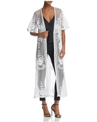 Aqua - Embroidered Mesh Duster Cardigan - Lyst