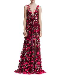 Marchesa notte - Embroidered Appliquéd Tulle Gown - Lyst