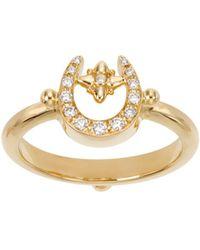 Temple St. Clair - 18k Yellow Gold Pavé Diamond Mini Horseshoe Ring - Lyst