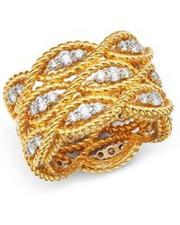 Roberto Coin - 18k Yellow & White Gold Barocco Collection Diamond Ring - Lyst