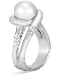 John Hardy - Sterling Silver Bamboo Cultured Freshwater Pearl Ring - Lyst
