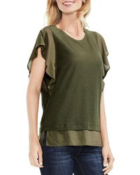Vince Camuto - Mixed Media Flutter Sleeve Top - Lyst