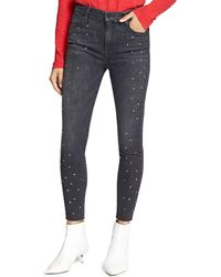 Sanctuary - High Rise Embellished Ankle Jeans In Black Out - Lyst