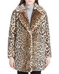 Calvin Klein - Faux-fur Leopard Coat - Lyst