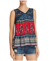 Aqua - Crochet-inset Floral Print Top - Lyst