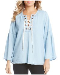 Karen Kane | Chambray Lace-up Top | Lyst
