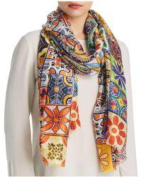 Larioseta - Tile Print Silk Scarf - Lyst