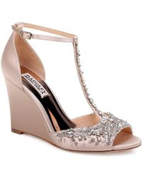 1a676e7ccbf Badgley Mischka - Women s Sarah Embellished Satin T-strap Wedge Sandals -  Lyst