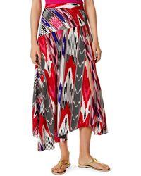 Karen Millen - Asymmetric Printed Midi Skirt - Lyst