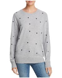 Aqua - Heart Embroidered Cashmere Sweater - Lyst