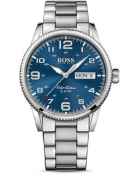 BOSS - Pilot Silvertone Stainless Steel Bracelet Watch, 1513329 - Lyst