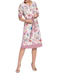 Basler - Belted Butterfly-print Dress - Lyst