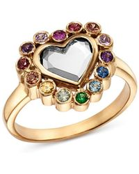 Shebee - Sterling Silver & 14k Yellow Gold White Topaz & Multicolour Sapphire Heart Ring - Lyst