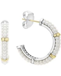 Lagos - 18k Gold And Sterling Silver White Caviar Hoop Earrings - Lyst
